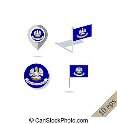Map pins with flag of Louisiana - illustration