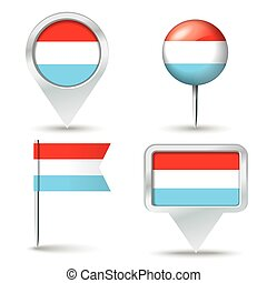 Map pins with flag of Luxembourg