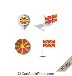 Map pins with flag of MACEDONIA