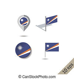 Map pins with flag of MARSHALL ISLANDS