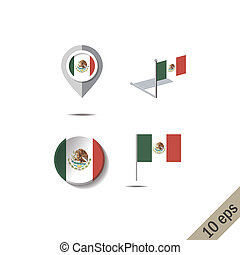 Map pins with flag of MEXICO