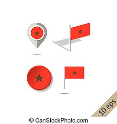 Map pins with flag of MOROCCO