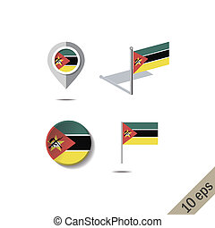 Map pins with flag of MOZAMBIQUE