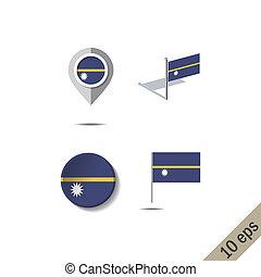 Map pins with flag of NAURU