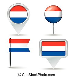 Map pins with flag of Netherlands