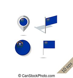 Map pins with flag of NEVADA - vector illustration