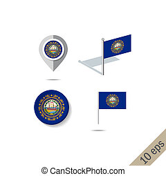 Map pins with flag of New Hampshire - vector illustration