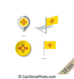 Map pins with flag of New Mexico . Navigation icons.