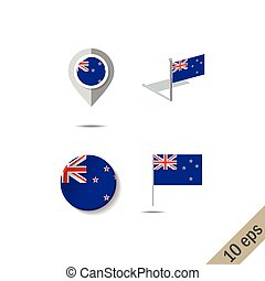 Map pins with flag of NEW ZEALAND