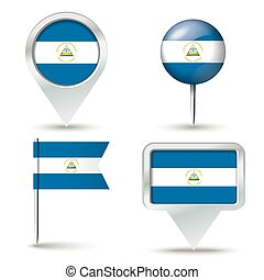 Map pins with flag of Nicaragua - vector illustration