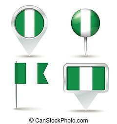 Map pins with flag of Nigeria
