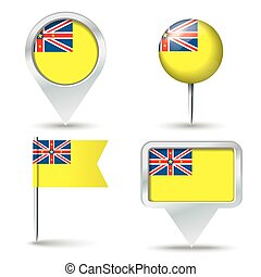 Map pins with flag of Niue