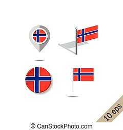 Map pins with flag of NORWAY