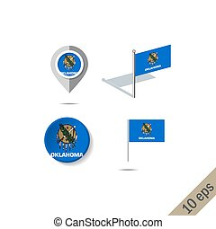 Map pins with flag of Oklahoma - vector illustration