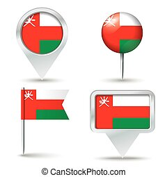 Map pins with flag of Oman