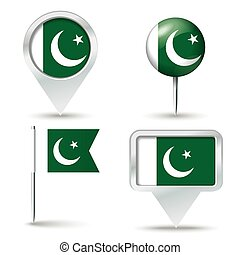 Map pins with flag of Pakistan