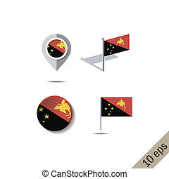 Map pins with flag of PAPUA NEW GUINEA