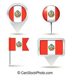 Map pins with flag of Peru
