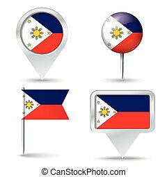 Map pins with flag of Philippines