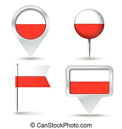 Map pins with flag of Poland