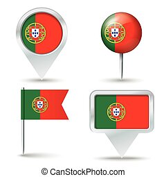 Map pins with flag of Portugal