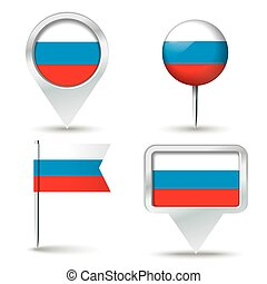 Map pins with flag of Russia