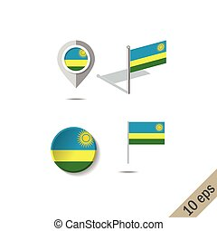 Map pins with flag of RWANDA