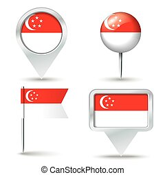 Map pins with flag of Singapore