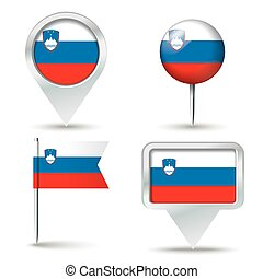 Map pins with flag of Slovenia
