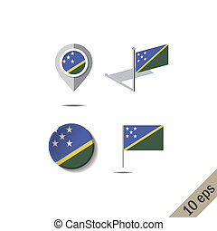 Map pins with flag of SOLOMON ISLANDS