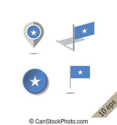 Map pins with flag of SOMALIA