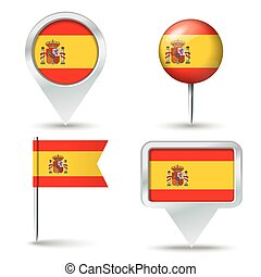 Map pins with flag of Spain