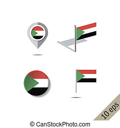 Map pins with flag of SUDAN