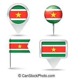 Map pins with flag of Suriname