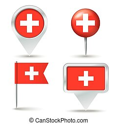 Map pins with flag of Switzerland