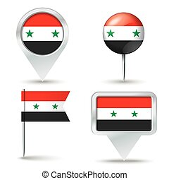 Map pins with flag of Syria