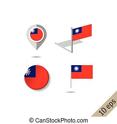 Map pins with flag of Taiwan