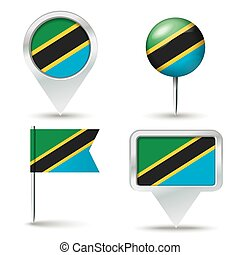 Map pins with flag of Tanzania