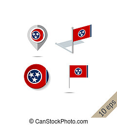 Map pins with flag of Tennesee- vector illustration