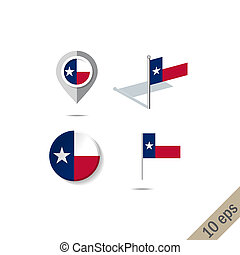 Map pins with flag of Texas- vector illustration