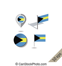 Map pins with flag of THE BAHAMAS