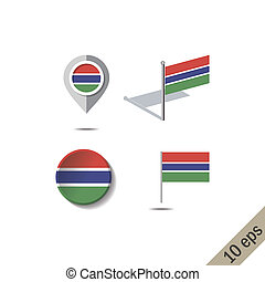 Map pins with flag of THE GAMBIA