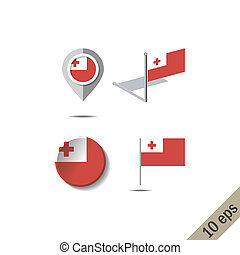 Map pins with flag of TONGA