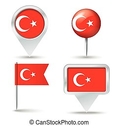 Map pins with flag of Turkey