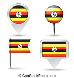 Map pins with flag of Uganda