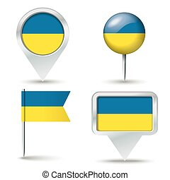 Map pins with flag of Ukraine