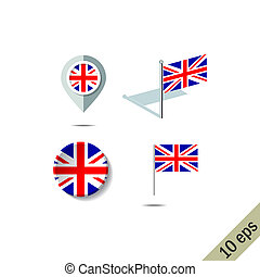 Map pins with flag of UNITED KINGDOM