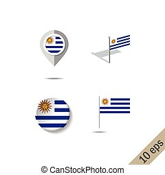 Map pins with flag of URUGUAY