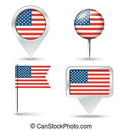 Map pins with flag of USA