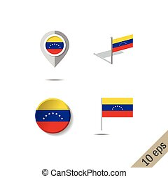 Map pins with flag of VENEZUELA